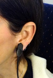 photo of biofeedback pulse monitor on ear