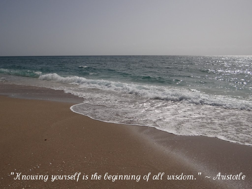 beach photo with quote by Aristotle: Knowing yourself is the beginning of all wisdom.
