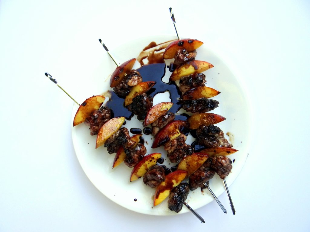 photo of grilled sweetbread skewers