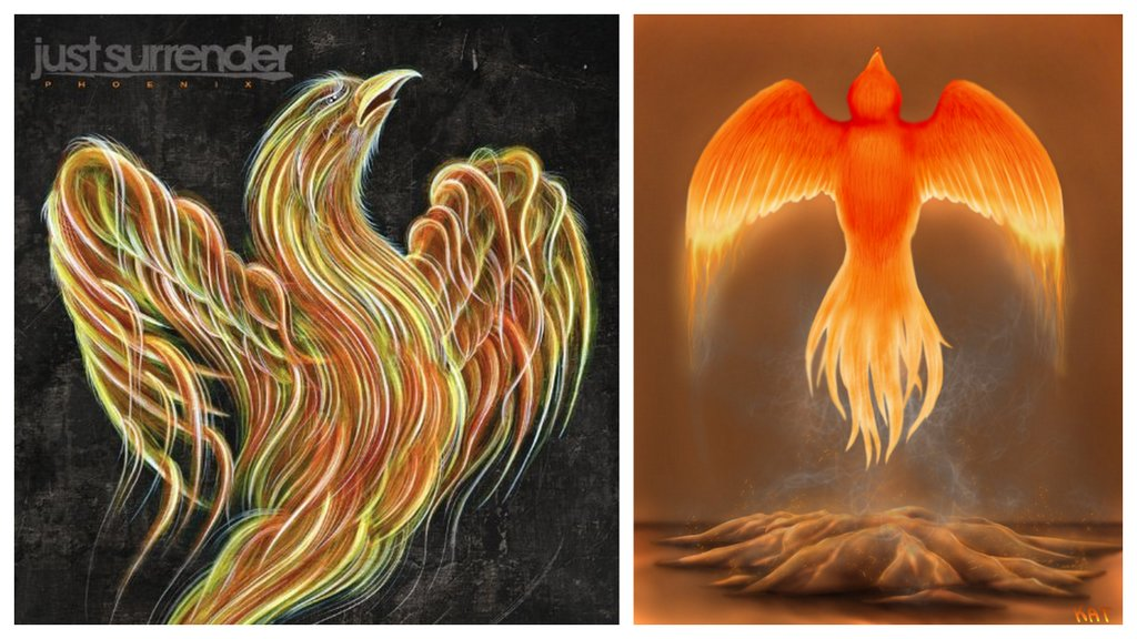 two different paintings of the mythical phoenix bird