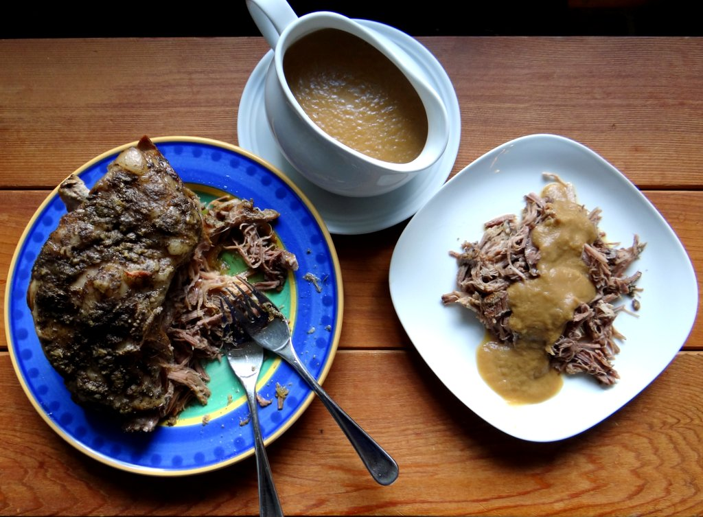 photo of pork roast and apple-onion gravy