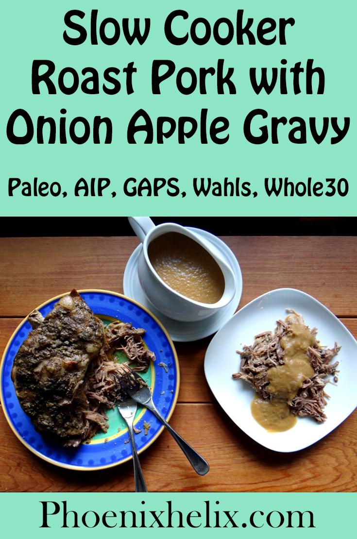 Slow Cooker Roast Pork with Onion Apple Gravy   Phoenix Helix