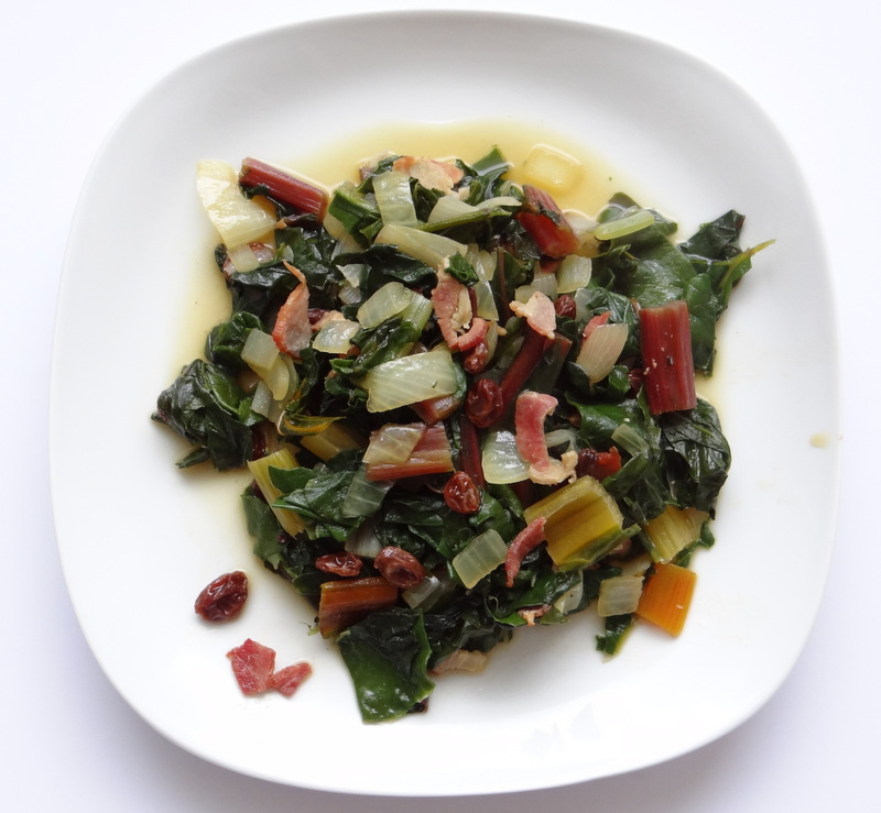 Rainbow Chard with Bone Broth and Bacon