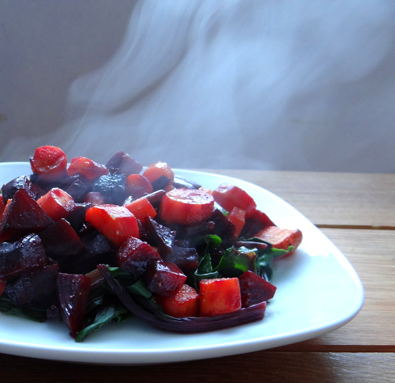 photo of roasted beets and carrots with grapefruit glaze