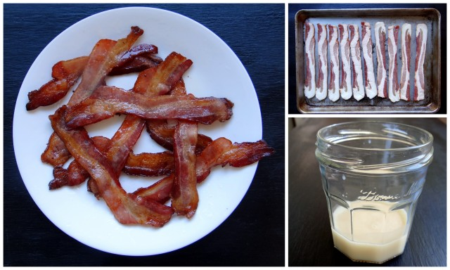 photo collage of bacon cooking process