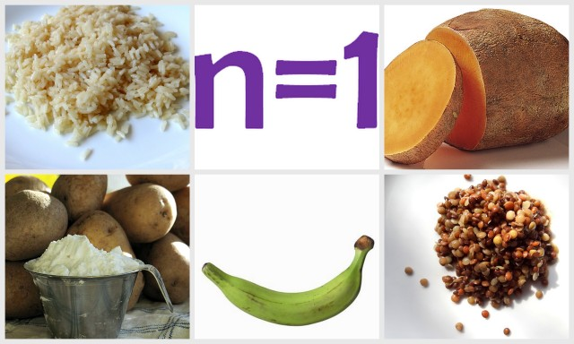 photo collage of different starchy foods