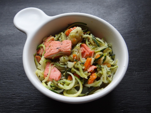Salmon Primavera with Zoodles