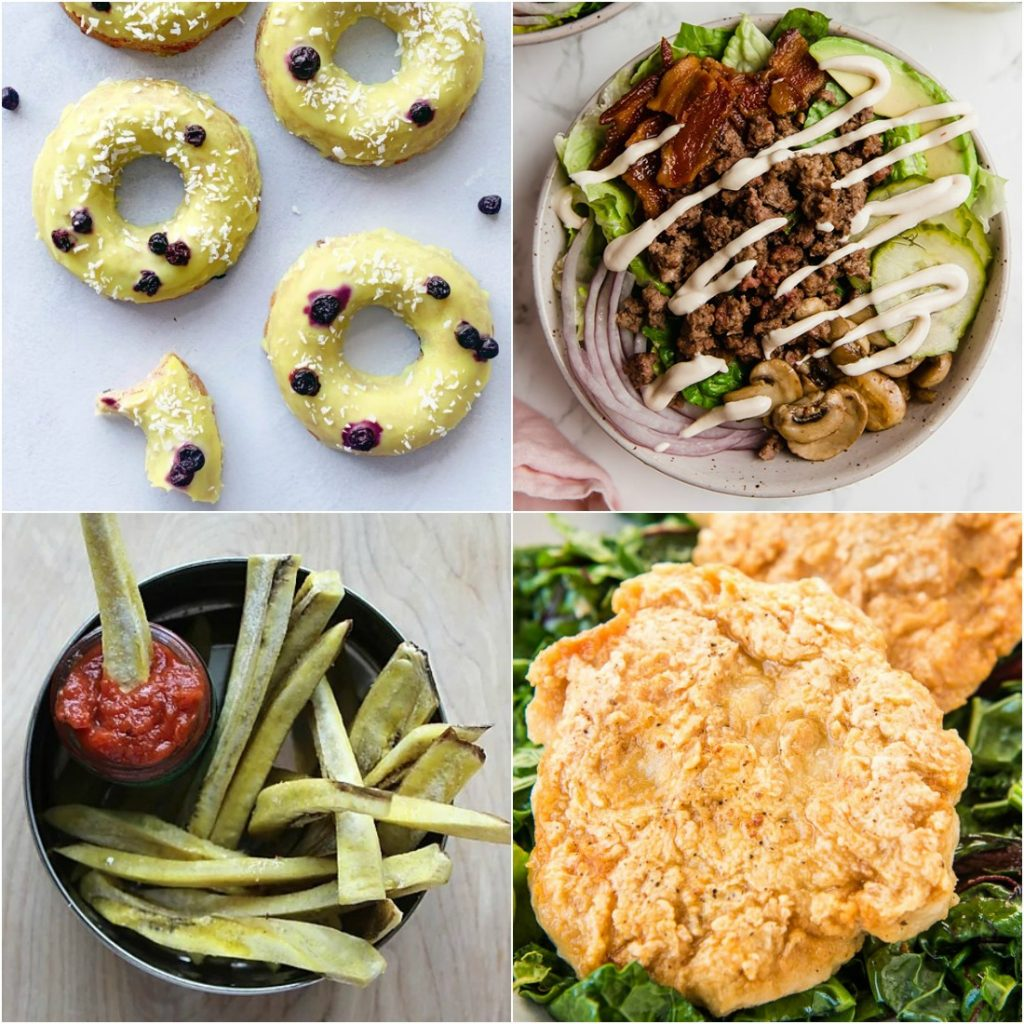 Paleo AIP Recipe Roundtable #320 | Phoenix Helix - *Featured Recipes: Lemon Glazed Blueberry Donuts, No-Cook Ketchup, Loaded Bun-Less Burger Bowls, and Fried Chicken Burgers