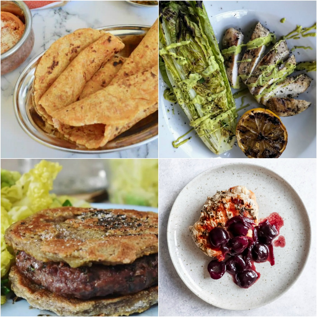 Paleo AIP Recipe Roundtable #328 | Phoenix Helix - *Featured Recipes: Sweet Potato Paratha (Flatbread), Beef Burger, Grilled Chicken & Romaine with Creamy Avocado Caesar Dressing, Grilled Pork with Cherry Compote
