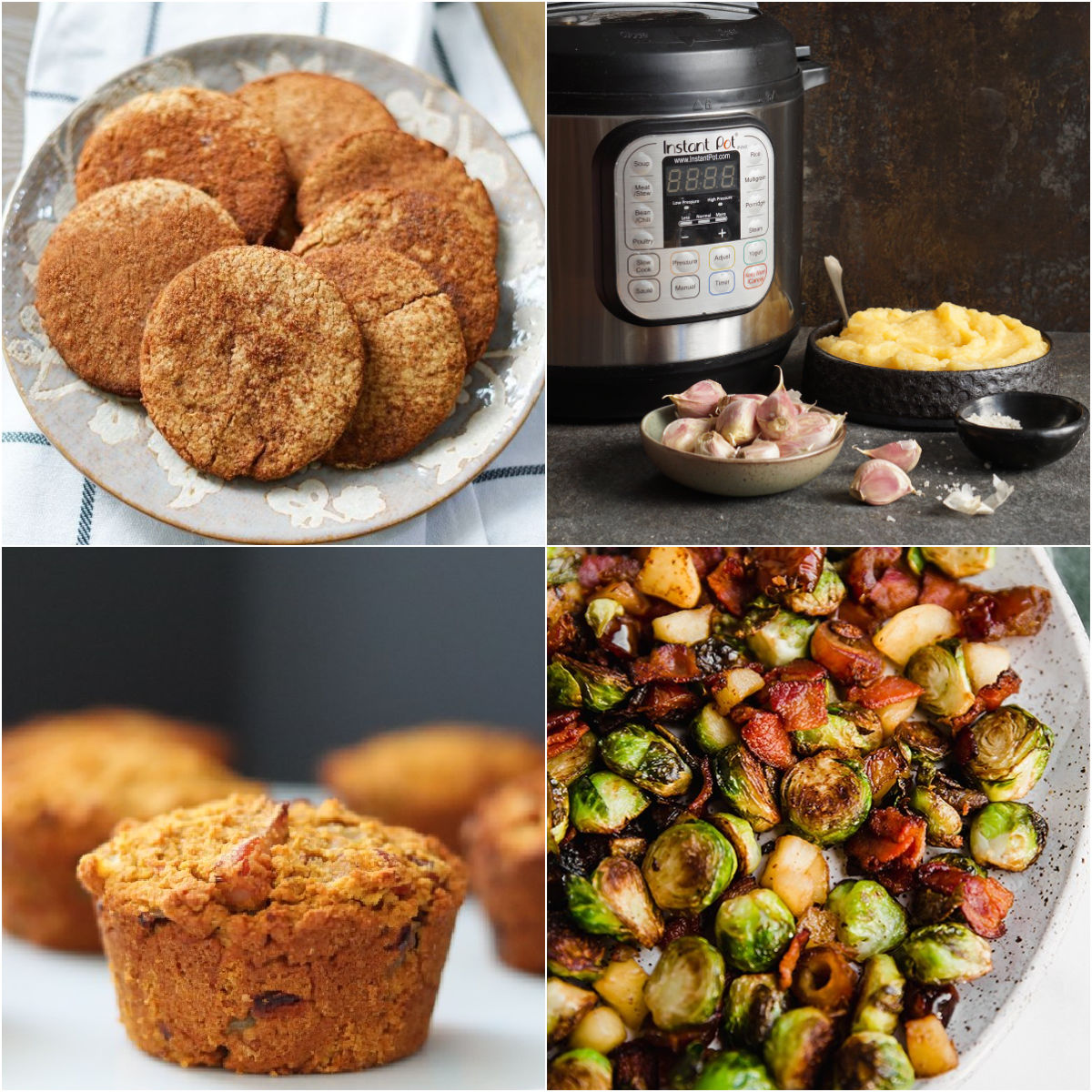 Paleo AIP Recipe Roundtable #344 | Phoenix Helix - *Featured Recipes: Snickerdoodle Cookies, Sweet Potato and Bacon Muffins, Instant Pot Garlicky Mashed Rutabaga, and Bacon, Date, & Apple Brussels Sprout Skillet.