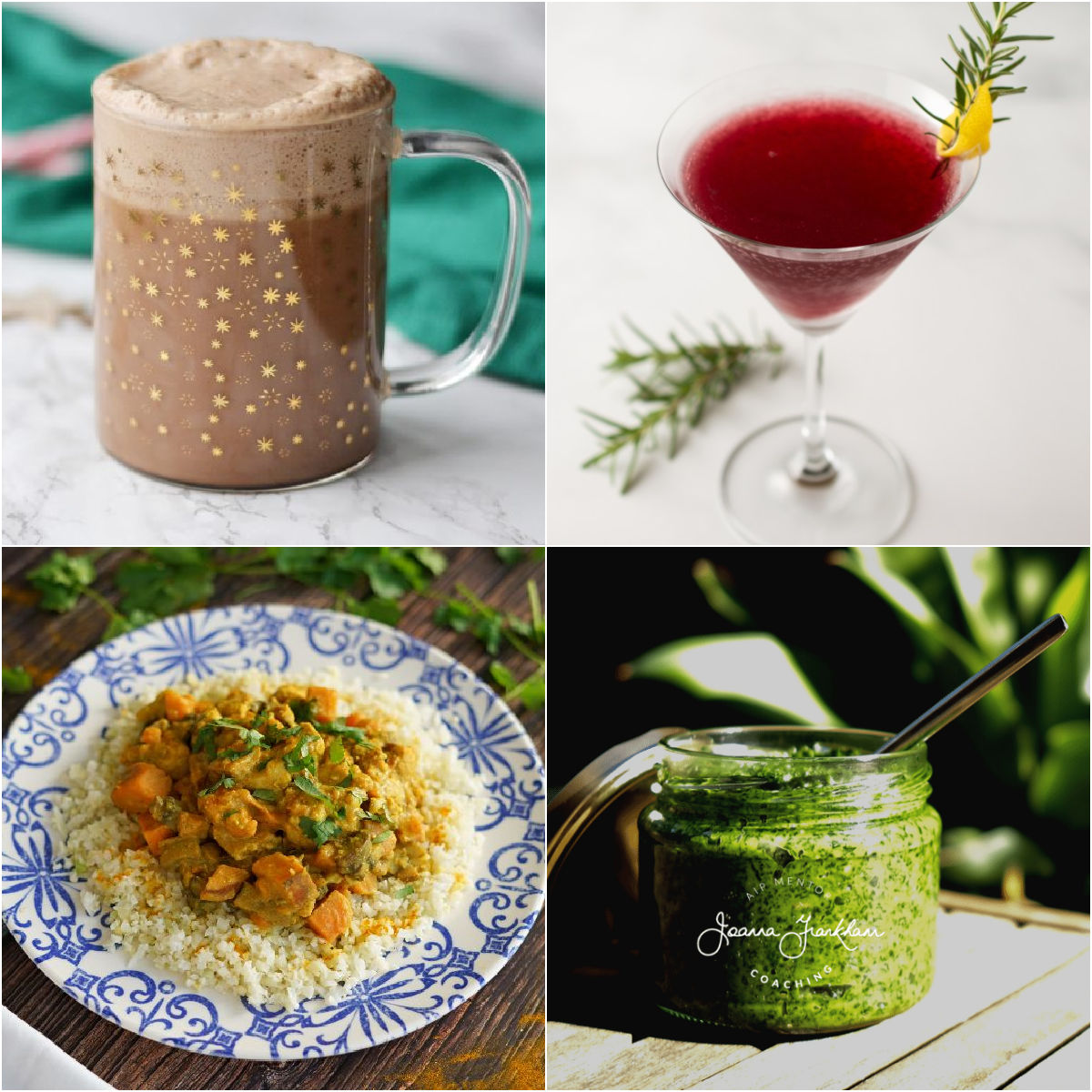 "Paleo AIP Recipe Roundtable #348 | Phoenix Helix - *Featured Recipes: Peppermint Hot ""Chocolate"", Moroccan Chicken Stew, Pomegranate Rosemary Spritzer Mocktail, and Kale Sauce"