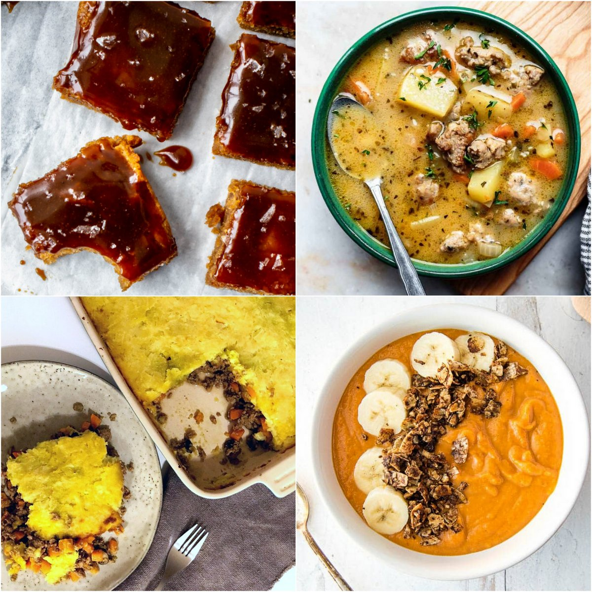 Paleo AIP Recipe Roundtable #357 | Phoenix Helix - *Featured Recipes: Salted Caramel Blondies, Creamy Sausage Potato Soup, Sweet Potato Breakfast Bowl, and Shepherd's Pie.