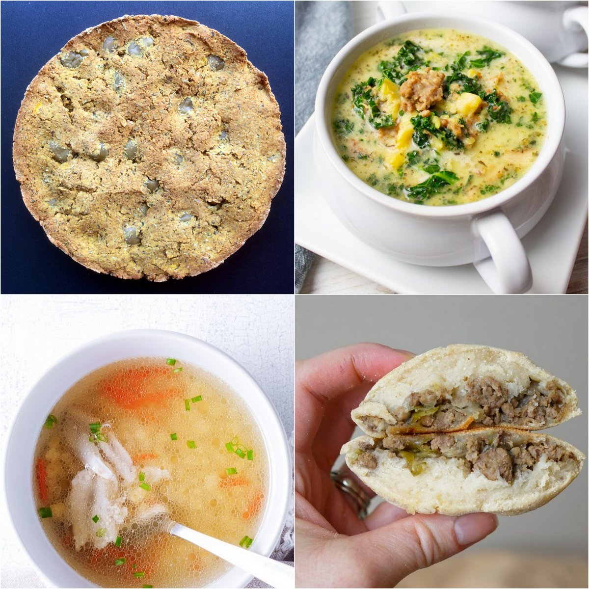Paleo AIP Recipe Roundtable #360   Phoenix Helix - *Featured Recipes: Olive Fougasse Bread, 6-Ingredient Zuppa Toscana, Chicken Noodle-Less Soup, and Bierocks (German Stuffed Beef Rolls)
