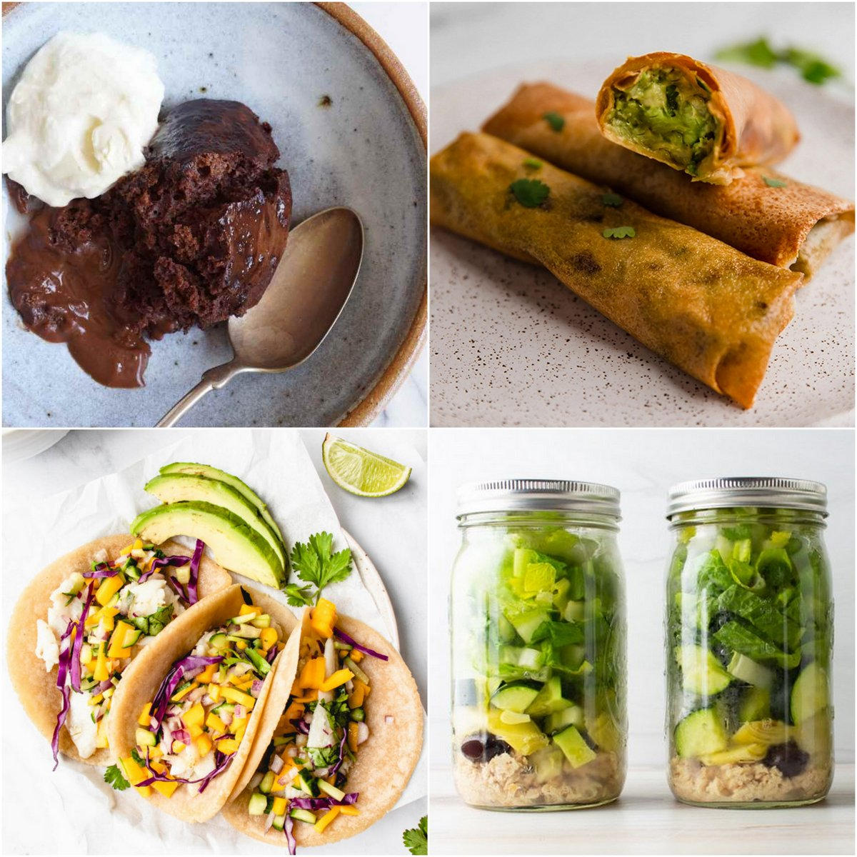 """Paleo AIP Recipe Roundtable #369   Phoenix Helix - *Featured Recipes: Self-Saucing """"Chocolate"""" Pudding, Air Fryer Avocado Egg Rolls, Fish Tacos, and Mason Jar Greek Salads."""