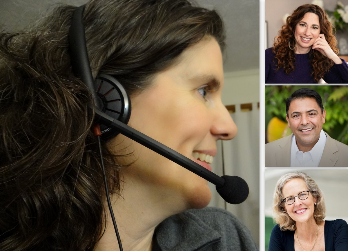 Eileen wearing headset and 3 podcast guests