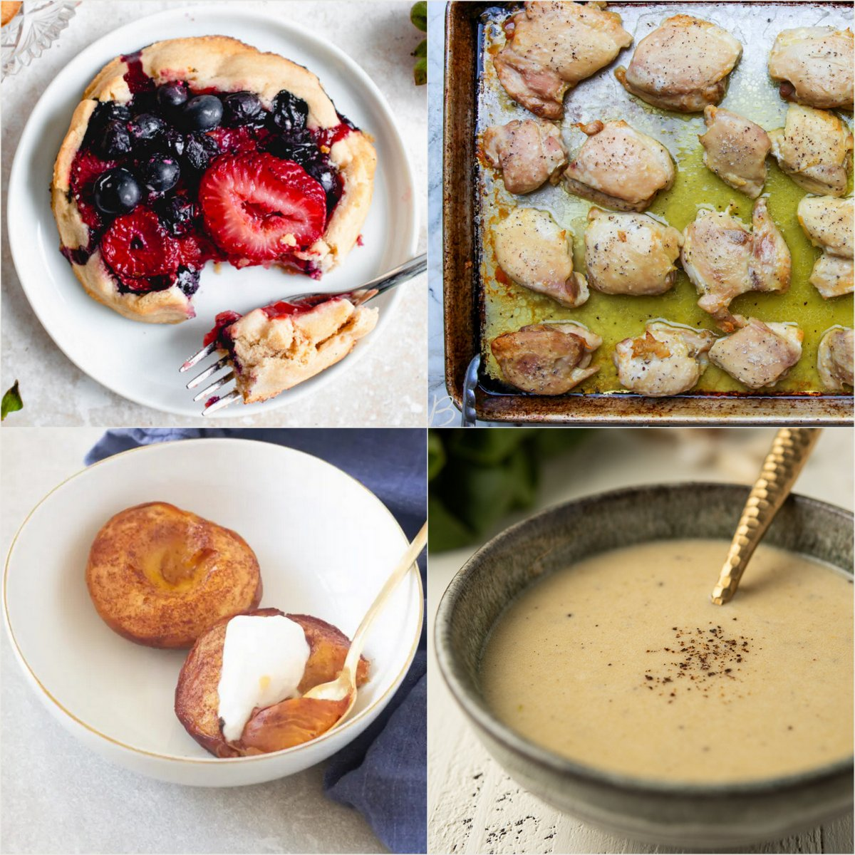 Paleo AIP Recipe Roundtable #377   Phoenix Helix - *Featured Recipes: Mixed Berry Galettes, Meal Prep Sheet Pan Chicken Thighs, Easy Baked Peaches, and Dairy-Free Caesar Dressing.