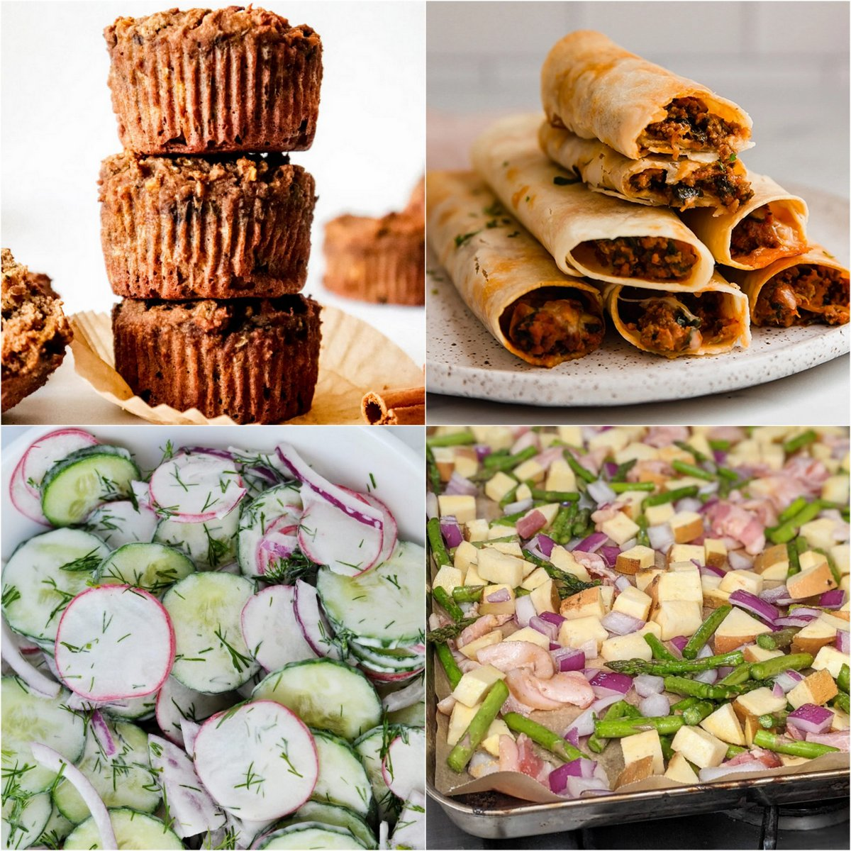 Paleo AIP Recipe Roundtable #380 | Phoenix Helix - *Featured Recipes: Zucchini Carrot Muffins, Pizza Taquitos, Cucumber Radish Dill Salad, and Lemon Bacon Asparagus Sheet Pan Dinner.