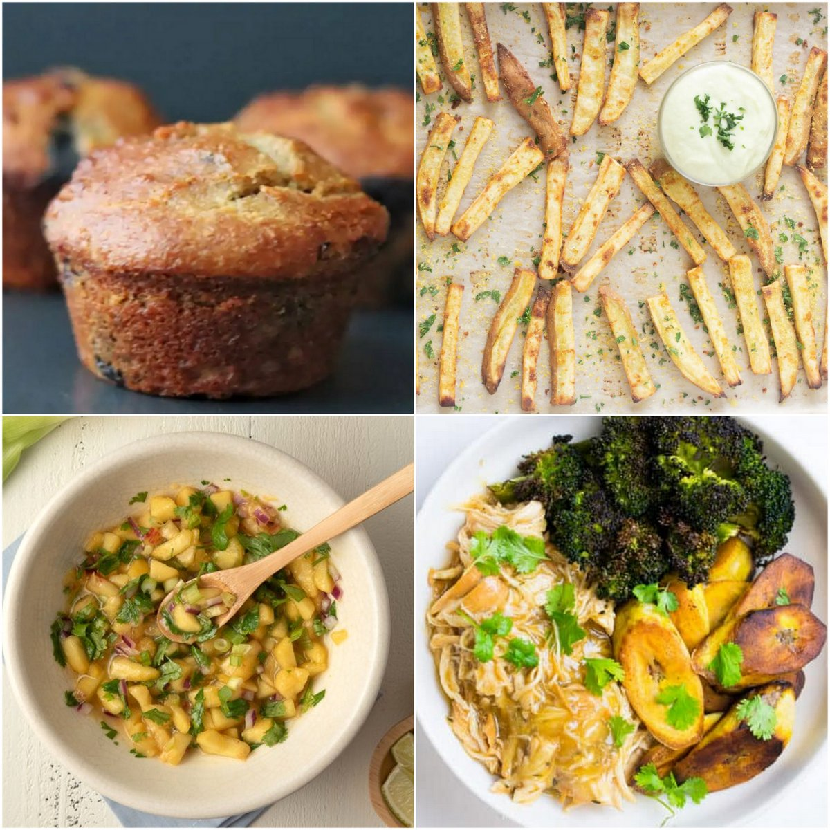 """Paleo AIP Recipe Roundtable #382   Phoenix Helix - *Featured Recipes: Banana and Blueberry Muffins, """"Cheesy"""" Truffle Fries with Aioli Avocado Dip, Peach Salsa, and Instant Pot Orange Chicken."""