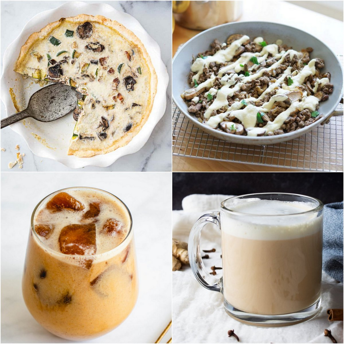 Paleo AIP Recipe Roundtable #387 | Phoenix Helix - *Featured Recipes: Bacon and Onion Eggless Quiche, Philly Cheesesteak Skillet, Pumpkin Cold Brew, and Easy Chai Tea Latte Concentrate.